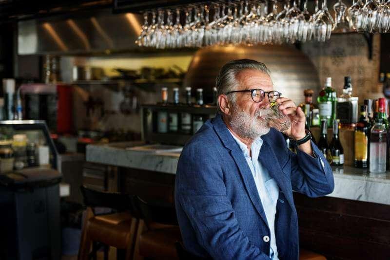 Senior Man Hangout Drinking Alcohol