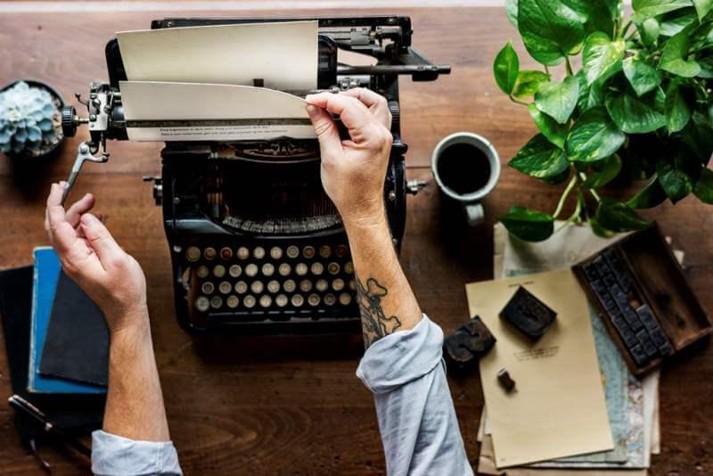 Man Using Retro Typewriter Machine Work Writer Changing Paper