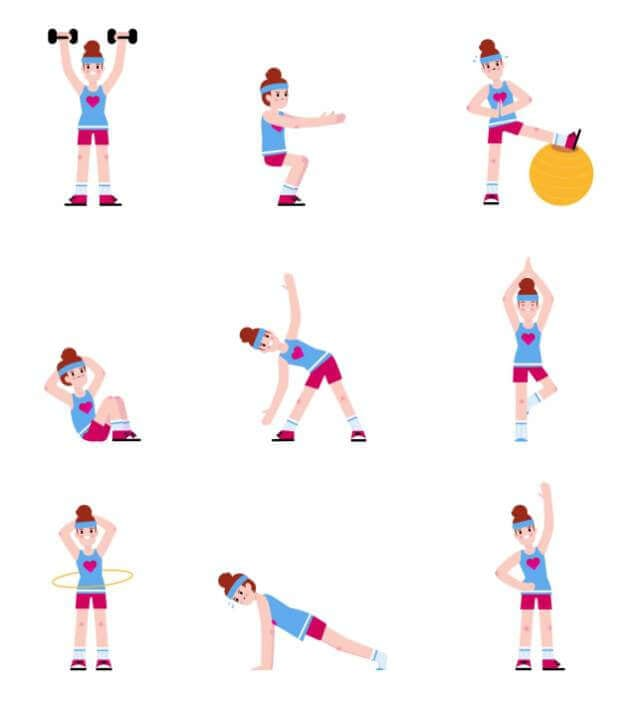 Woman Doing a Series of Exercises