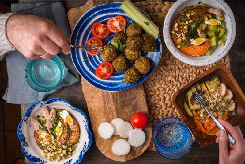 serving-holiday-table-falafel-vegetable-salad
