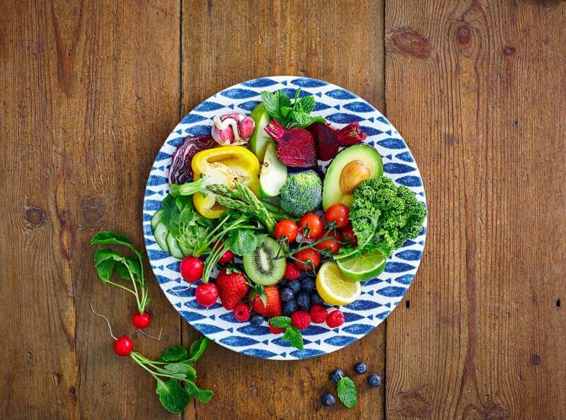 frutis and vegetables slice in plate