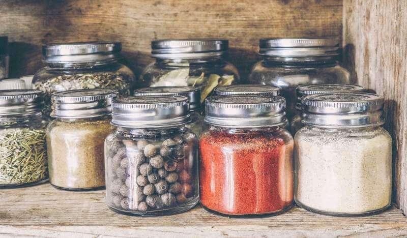Ingredients in glass bottle