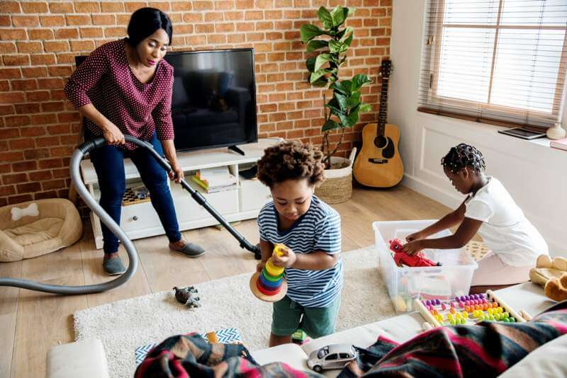 black-family-cleaning-the-house-together