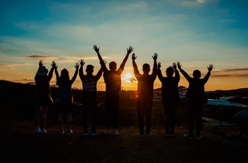Young people sunset journey